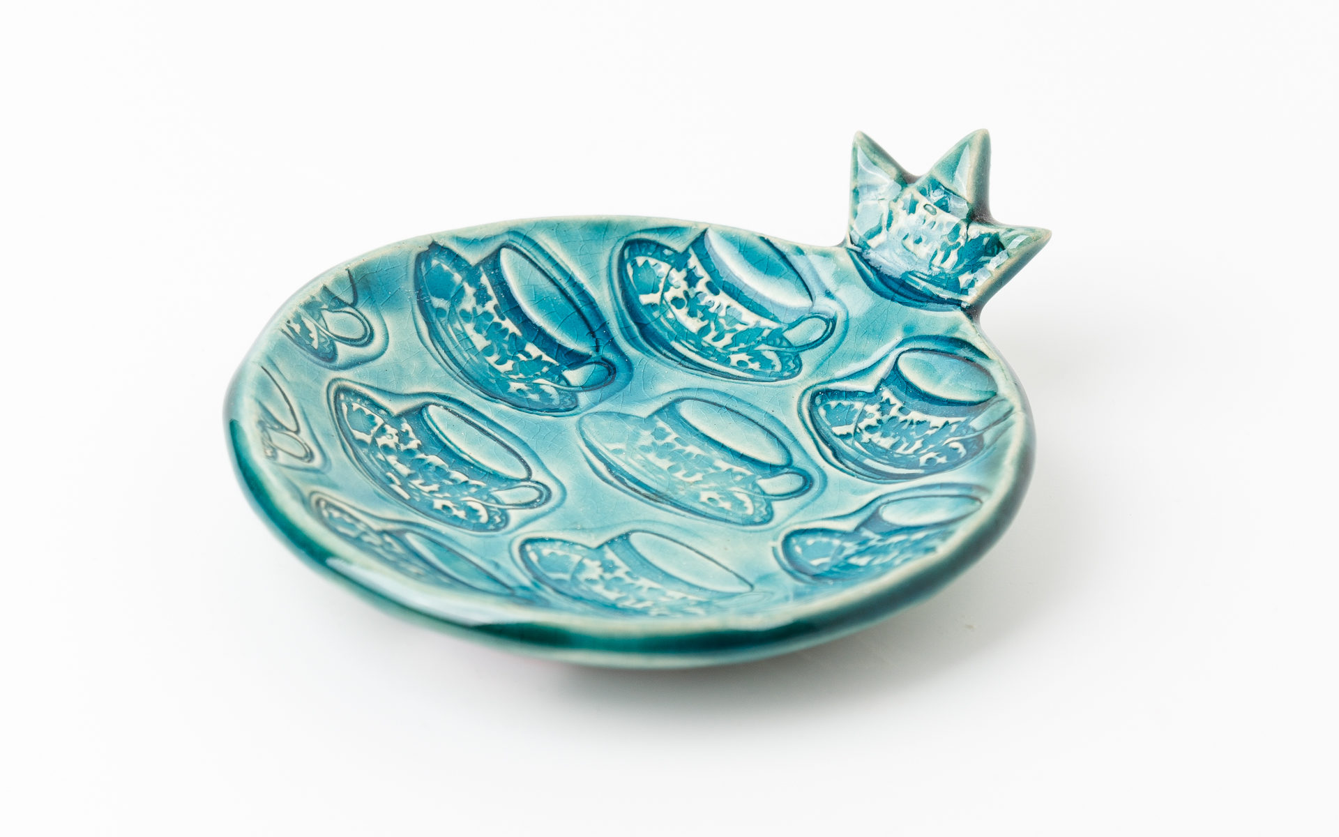 тарелка сине-зеленая маленькая