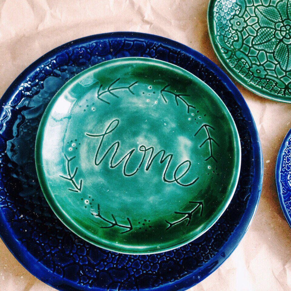 """тарелка с надписью """"home"""" маленькая"""