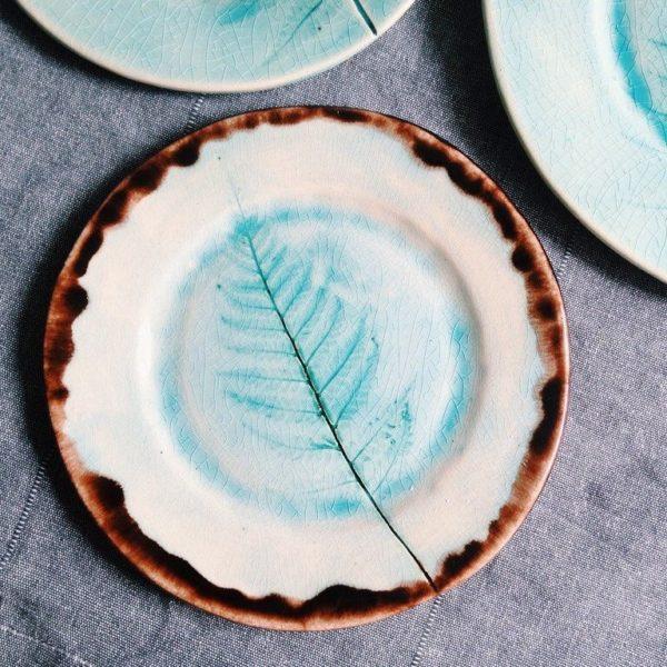 тарелка с папоротником средняя