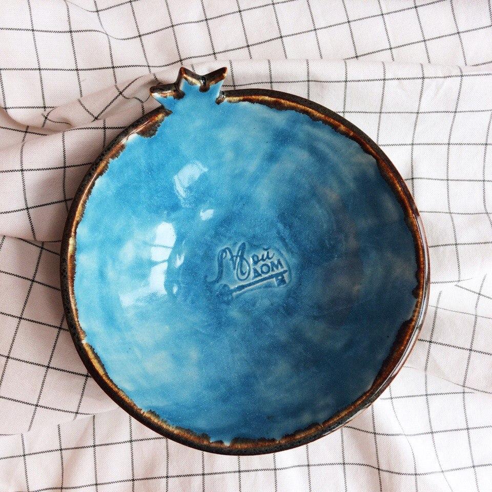 миска коричнево-голубая глубокая